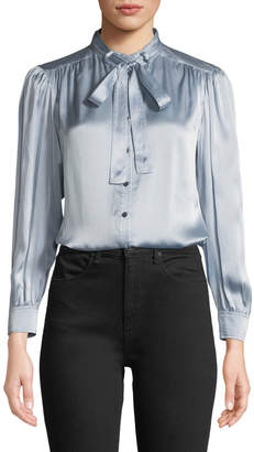 Rebecca Taylor Long-Sleeve Charmeuse Tie-Neck Top
