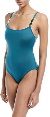 Kate Spade Solid One-Piece Swimsuit With Bow Details