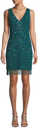 Aidan Mattox Beaded V-Neck Sleeveless Fringe Dress