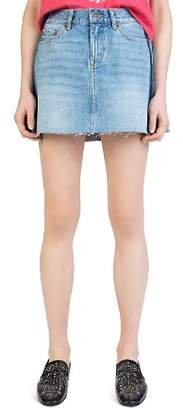 The Kooples Frayed Side-Stripe Denim Mini Skirt