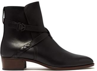 Bottega Veneta Intrecciato Strap Leather Chelsea Boots - Mens - Black
