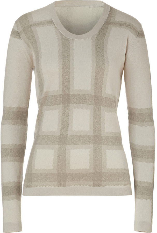 Burberry Trench Check Cashmere-Blend Crewneck Pullover