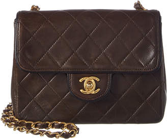 Chanel Brown Quilted Lambskin Leather Piped Mini Single Flap Bag