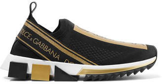 Dolce & Gabbana Sorrento Metallic-trimmed Stretch-mesh Slip-on Sneakers - Black