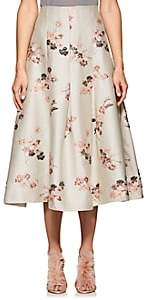 Co WOMEN'S FLORAL-JACQURD PLEATED SKIRT-BEIGE, TAN SIZE L