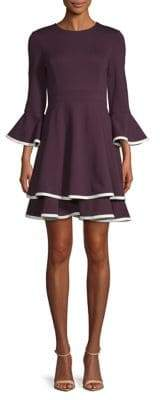 Eliza J Tiered Bell-Sleeve Fit--Flare Dress