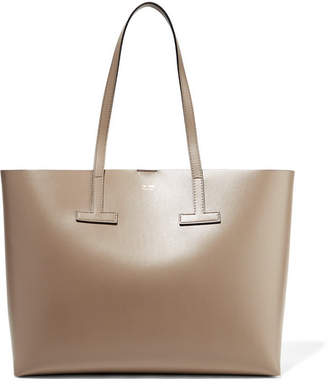 Tom Ford T Medium Textured-leather Tote - Beige