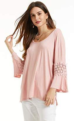 SONJA BETRO Women's Knit Lace Inset 3/4 Bell Sleeve Scoopneck Tunic XXX-Large