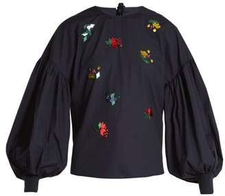 Muveil Tie-back embellished cotton-poplin top