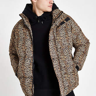 River Island Brown leopard print puffer jacket