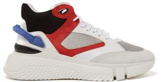 Buscemi Veloce High Top Leather And Suede Trainers - Mens - Red White