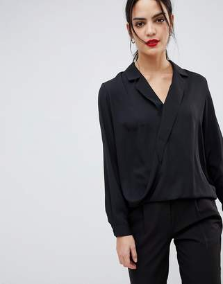 Asos Design DESIGN long sleeve wrap top with collar detail