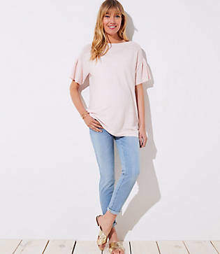 LOFT Petite Maternity Skinny Crop Jeans in Light Indigo