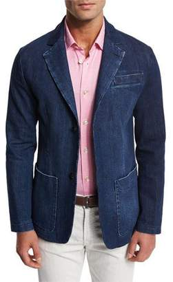 Kiton Denim Blazer with Elbow Patches, Blue
