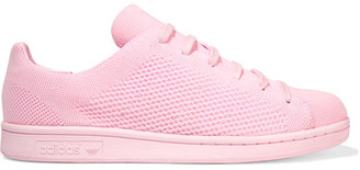 Adidas Originals - Stan Smith Textured-knit Sneakers - Pastel pink $100 thestylecure.com
