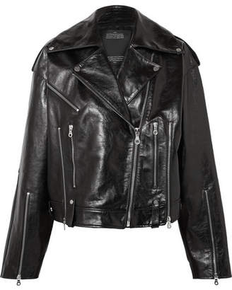 Rokh - Oversized Glossed-leather Biker Jacket - Black