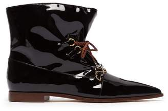 J.W.Anderson Twisted Plaque Patent Leather Ankle Boots - Womens - Black