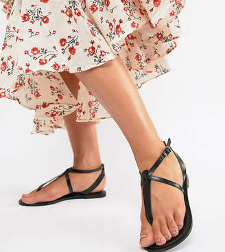 Asos Design DESIGN Wide Fit Forbes leather flat sandals