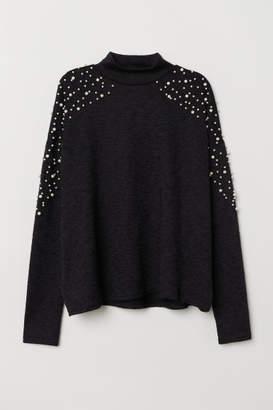 H&M Beaded Sweater - Black
