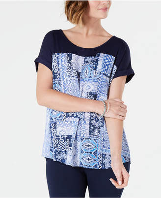 Style&Co. Style & Co Printed Cuffed-Sleeve Top