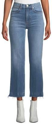 Rag & Bone Justine Cropped Frayed Wide-Leg Jeans