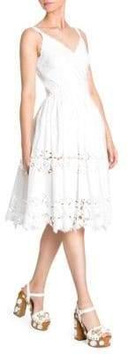 Dolce & Gabbana Dolce& Gabbana Women's Poplin Lace Tiered A-Line Dress - White - Size 42 (6)