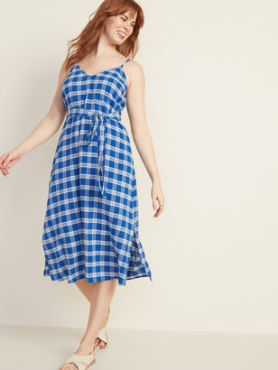 Old Navy Plaid Tie-Belt Cami Midi for Women