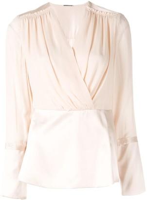 Elie Tahari wrap front blouse