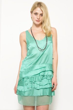 3.1 Phillip Lim Mint Tank Dress With Tiered Ruffle Bottom