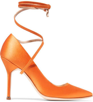 Vetements - + Manolo Blahnik Satin Pumps - Bright orange $1,775 thestylecure.com