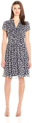 MSK Women's Floral Woven Pintuck Shirt Dress