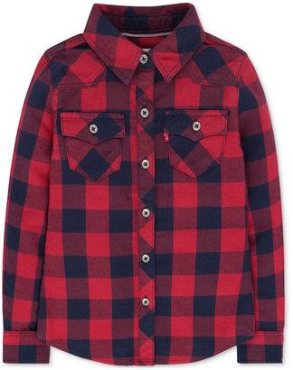 Levi's Buffalo Plaid Long-Sleeve Shirt, Toddler & Little Girls (2T-6X) $46 thestylecure.com