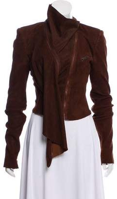 Haider Ackermann Asymmetrical Wrap Suede Leather Jacket