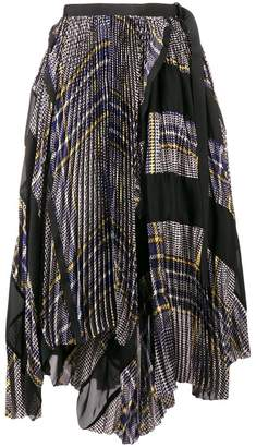 Sacai asymmetric checked skirt