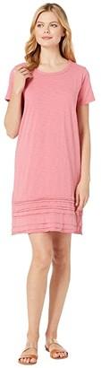 Mod-o-doc T-Shirt Dress with Pleated Hem in Heavier Slub Jersey
