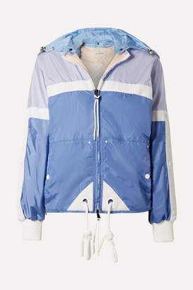 Moncler Hooded Grosgrain-trimmed Shell Jacket - Blue