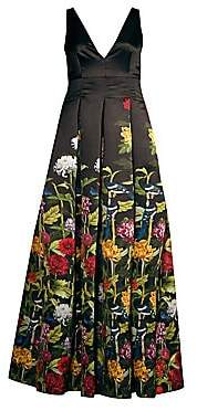 Alice + Olivia Women's Chantal Floral Satin Pleated A-Line Gown
