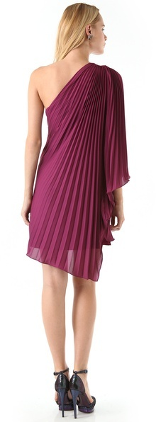 Halston One Shoulder Pleated Dress