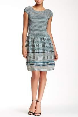 Max Studio Cap Sleeve Smocked Print Dress