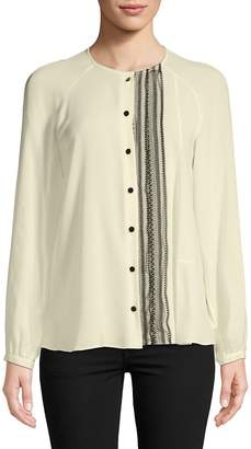 Derek Lam Women's Collarless Silk Button-Down Shirt