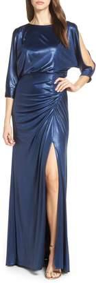 Adrianna Papell Metallic Blouson Evening Dress
