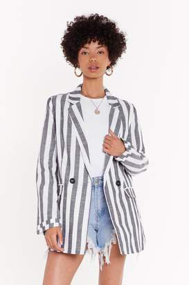 Nasty Gal Stripe Linen Blazer