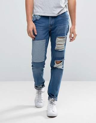 WÅVEN Tapered Fit Jeans in Rip and Repair