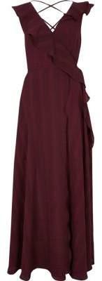 River Island Burgundy stripe frill wrap maxi dress