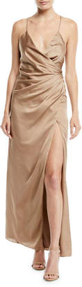 Fame & Partners The Zarita Sleeveless V-Neck Draped Matte Stretch Satin Gown Dress