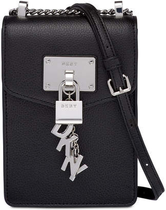 DKNY Elissa Pebble Leather Charm Chain Strap Crossbody