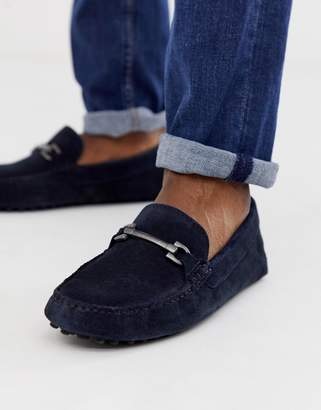 cc9e910398bbc Asos Design DESIGN driving shoes in navy suede with snaffle
