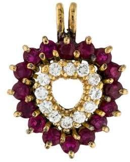 14K Ruby & Diamond Heart Pendant