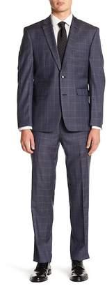 Vince Camuto Stretch Windowpane Trim Fit Print 2-Piece Suit