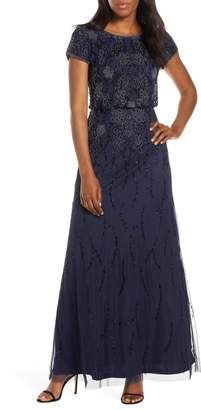 Adrianna Papell Bead Embellished Evening Gown